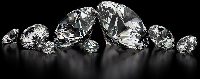 Lighted Diamonds on a Black Background