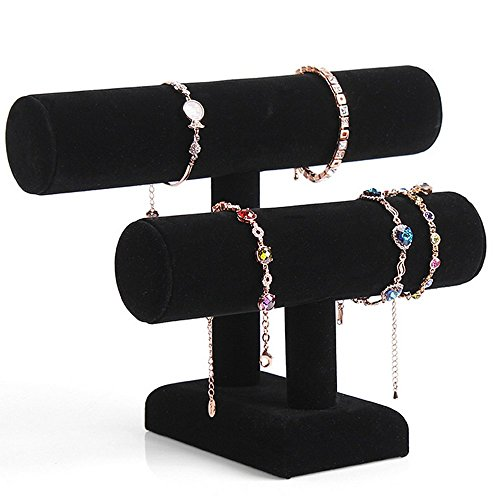 2 Tier Black Velvet Bracelet TBar Holder Organizer Jewelry
