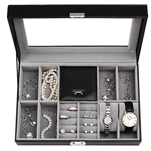 Black PU Leather Large 8 Slot Lockable Jewelry Watch Display Case