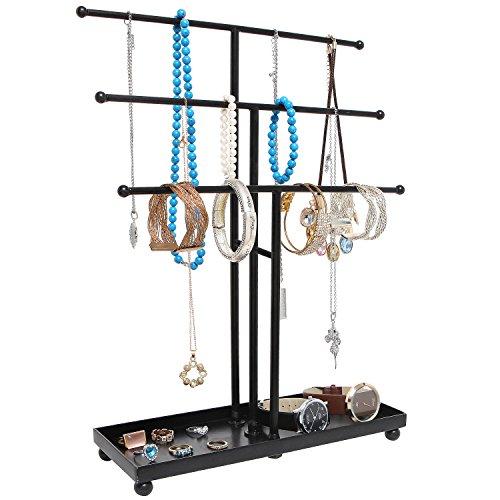 Black Modern Metal 3 Tier Tabletop Bracelet Necklace Holder