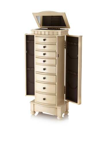 Gold Colored 8Drawer Jewelry Armoire With 2 Side Compartments