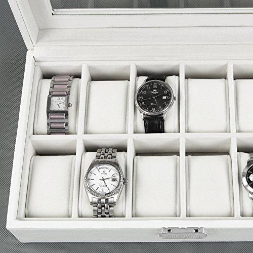 White Leather 12 Slot Mens Watch Display Storage Box Display