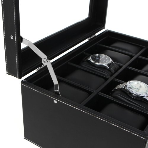 2 Tier Black Faux Leather 20 Slot Lockable Watch Box Display Case