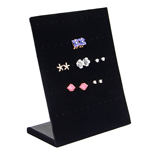 Black Velvet Earring Display Stand 41 Slot Black Velvet Earrings Holders Display Stand Organizer 9