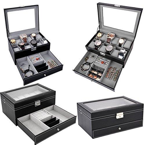 Black Leather Lockable Jewelry Box Jewelry Display Case With Glass
