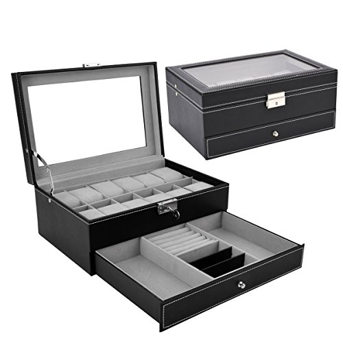 Black Leather Lockable Jewelry Box Jewelry Display Case With Glass