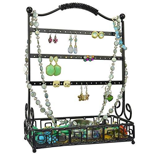 Black Metal 27 Pair Earrings Jewelry Organizer Hanger Display
