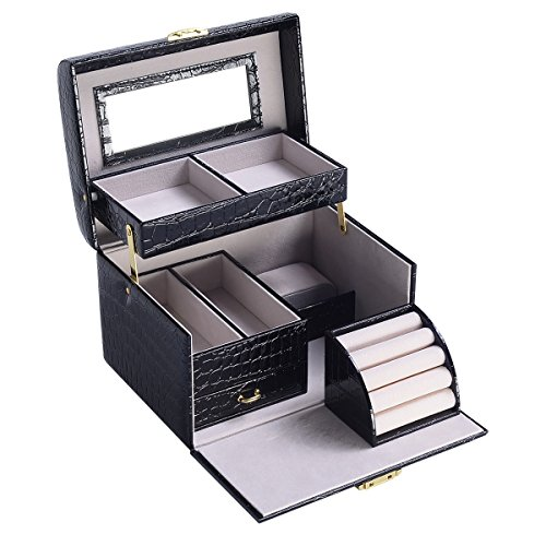 Large Black Jewelry Box Organizer Case With Inside Mirror Stores