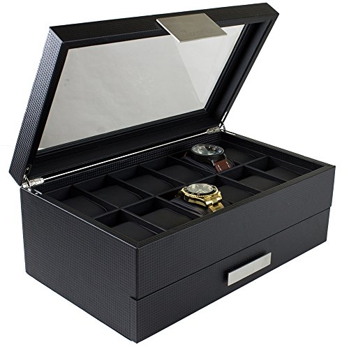12 Slot Mens Watch Box With Valet Drawer Carbon Fiber Design With