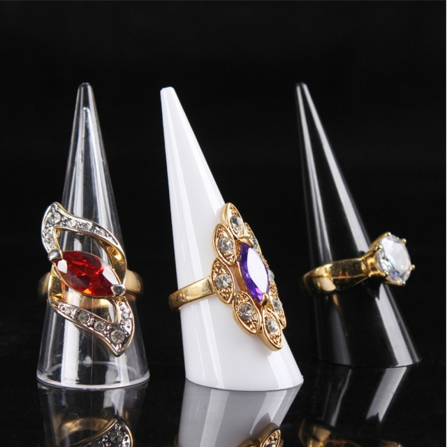 Acrylic cone in black, white or transparent perfect for a ring display jewelry stand.