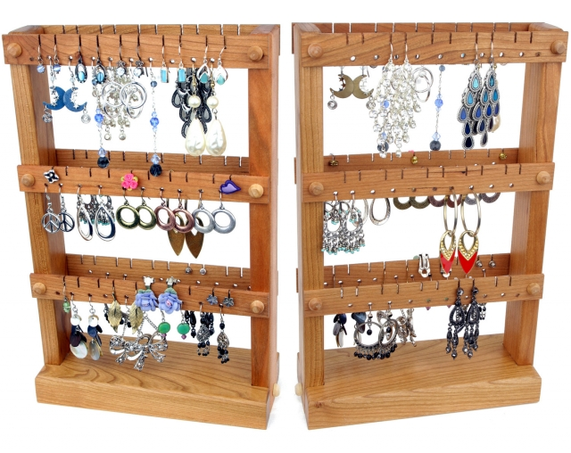 Cherry wooden jewelry organizer with special holes where you can hang all kinds of earrings.