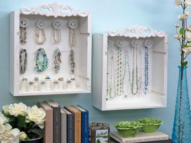 These wooden white boxes are a great creative wall art idea to decorate any space.
