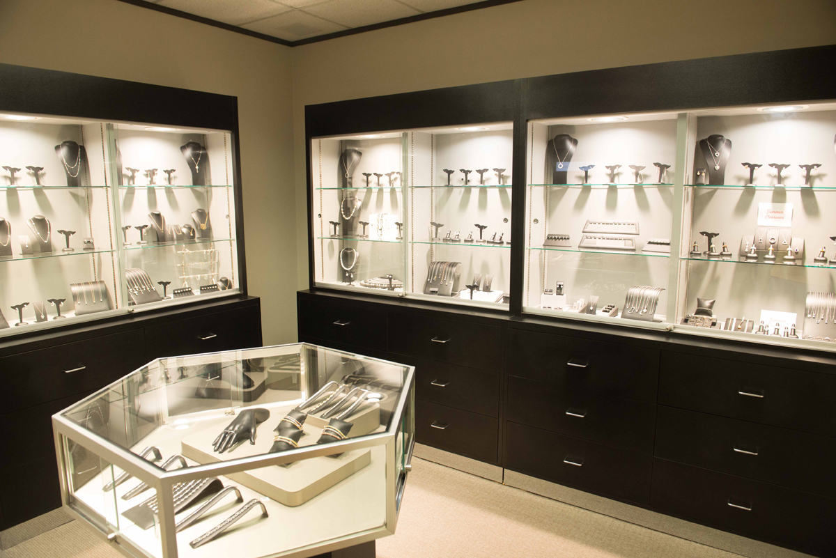 Merchandise display and store display arrangement by Dubins Fine Jewelry store.