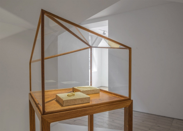 This goes beyond jewelry display, gold art in a glass box with natural wooden frame.