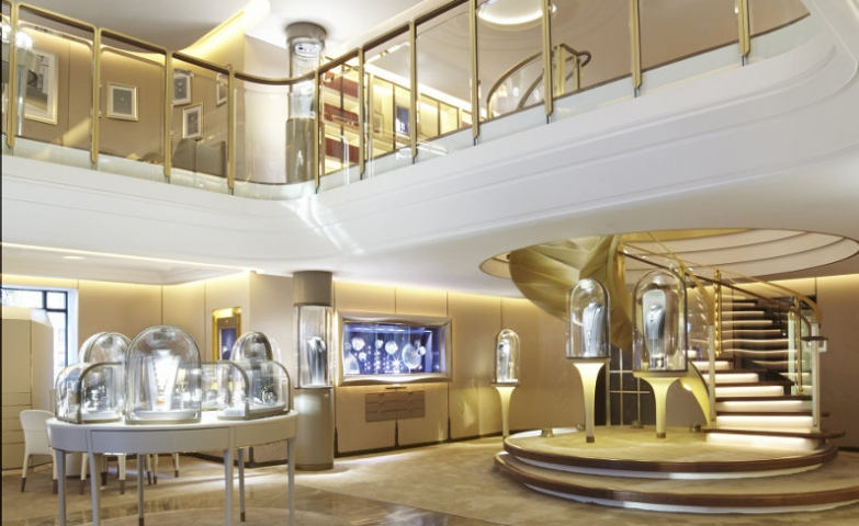 Gold dust all around the interior of Van Cleef and Arpels's New York boutique.