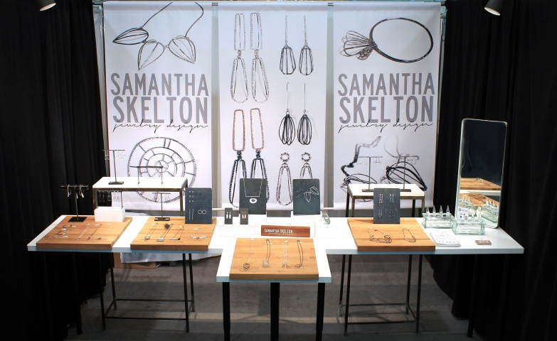 Show booth jewelry display created for the beautiful pieces made by Samantha Skelton Jewelry Design.
