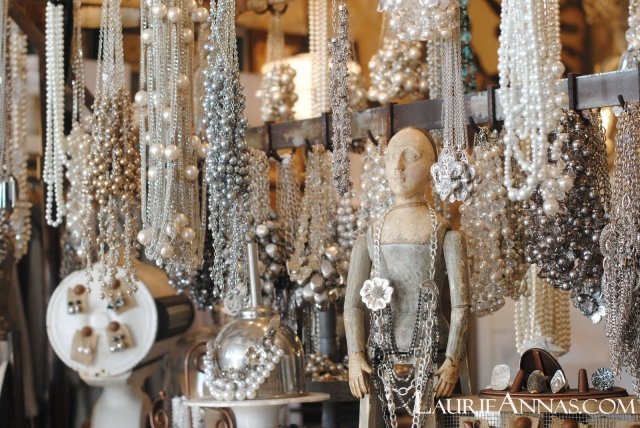Elegant necklaces made with different types of pearls, a jewelry display by LaurieAnna's Vintage Home.