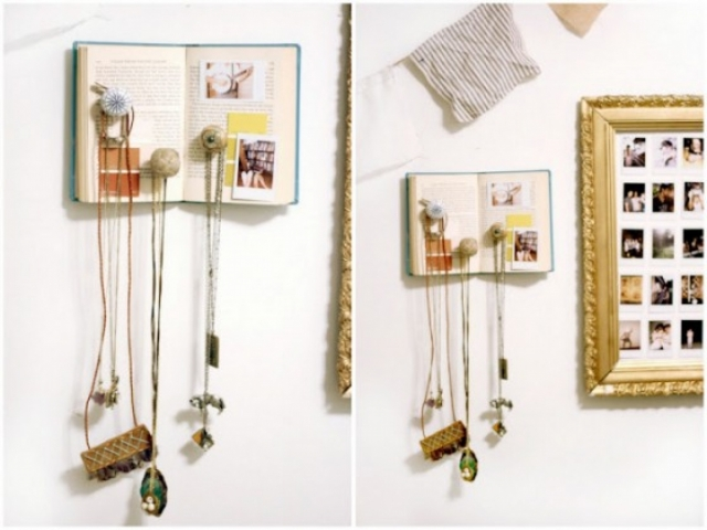 Anything can be used for jewelry display like let's say and old book with knobs glued to it and some photos to create new jewelry display ideas.