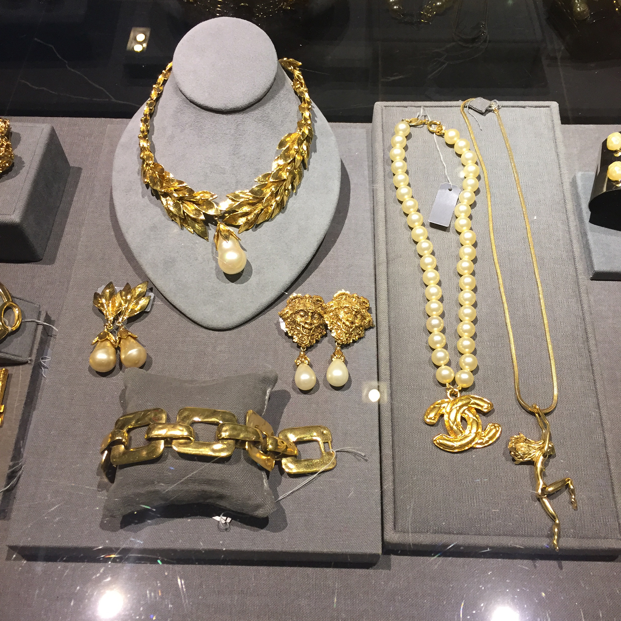 Jewelry display with stunning gold pieces seen at Barneys in New York.