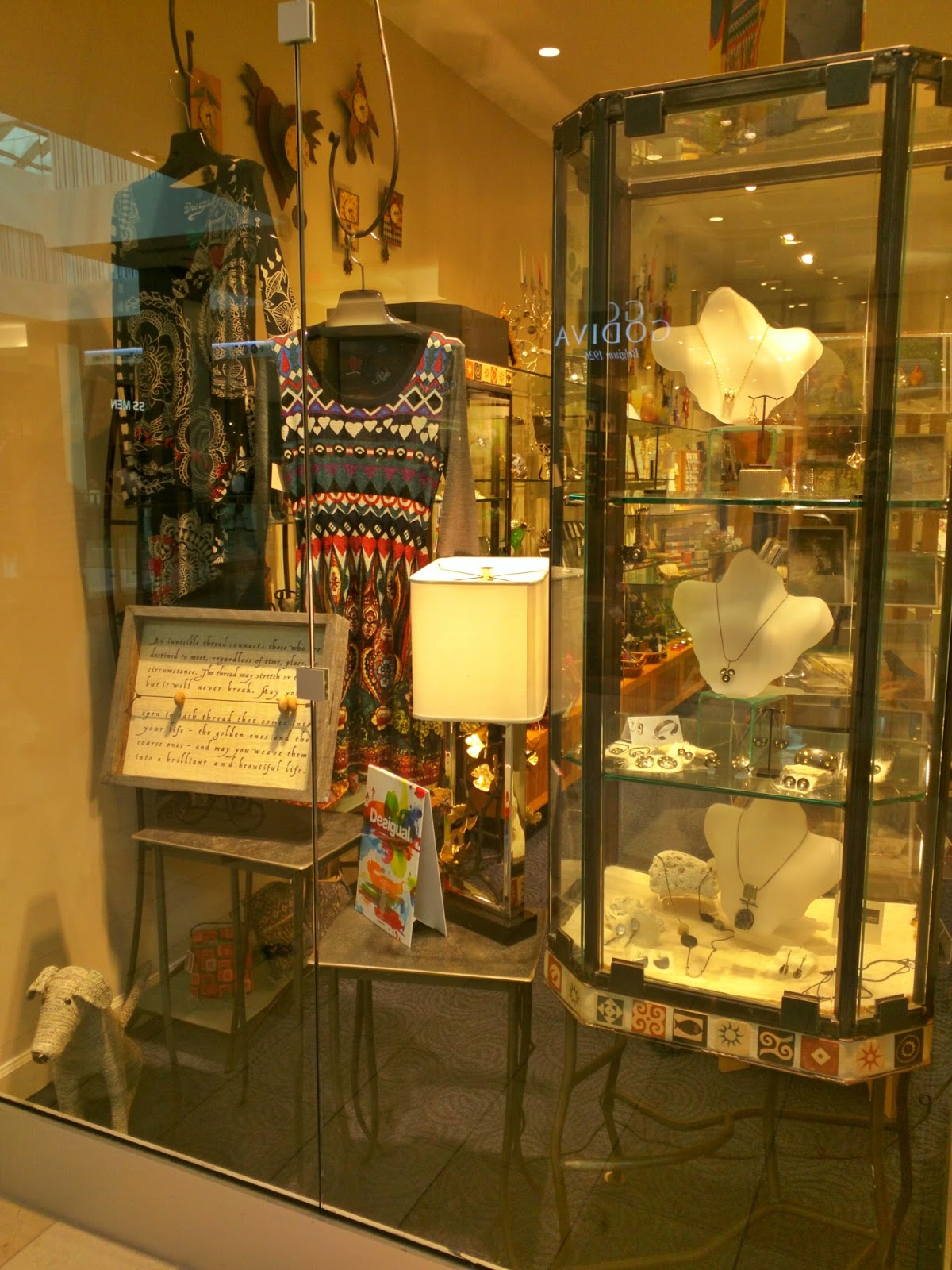 Bethesda visual merchandising and jewelry display window, a retro and cozy look.