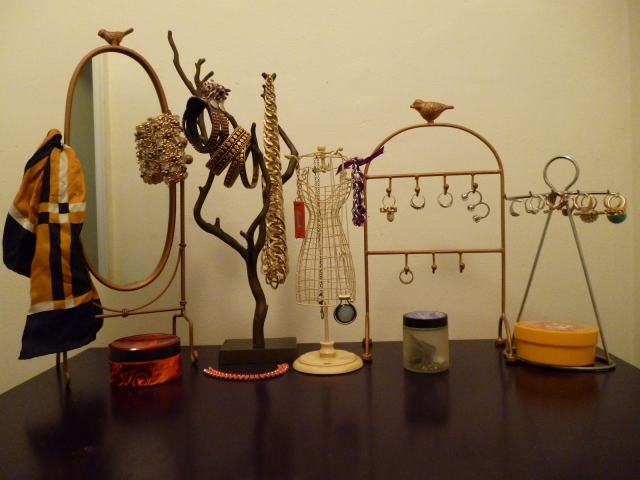 """A small setting for vintage jewelry display, idea from Urban Outfitters """"Creative ways to display jewelry""""."""