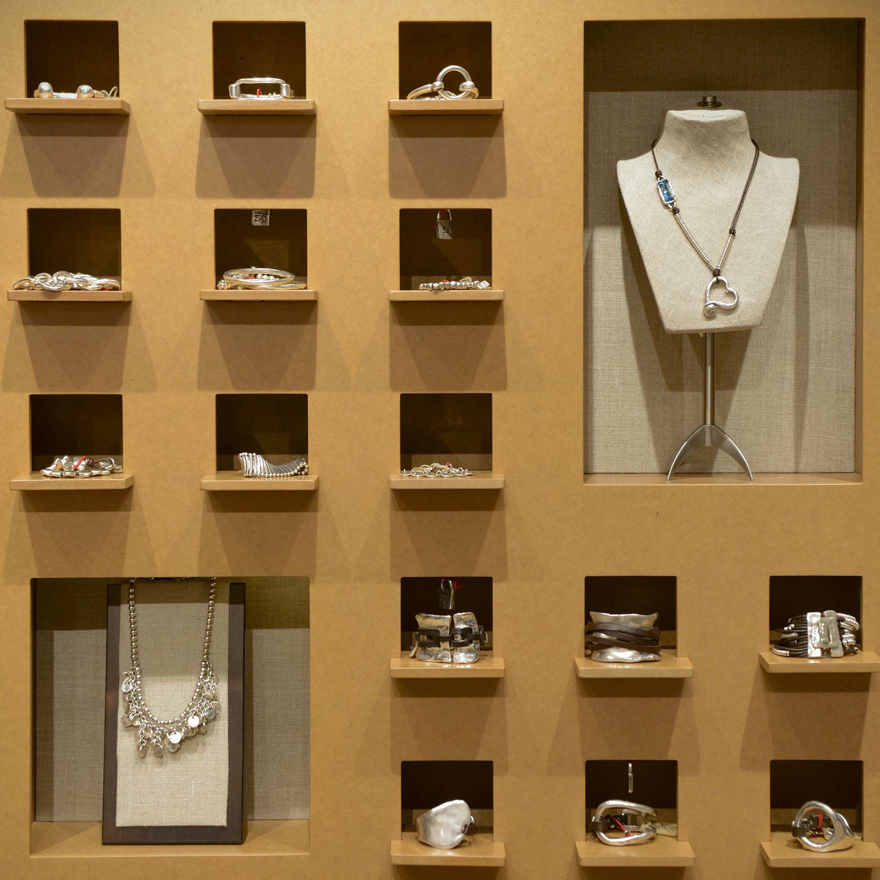 This simplistic display from a jewelry store in Los Angeles shows off your merchandise in a discrete way.
