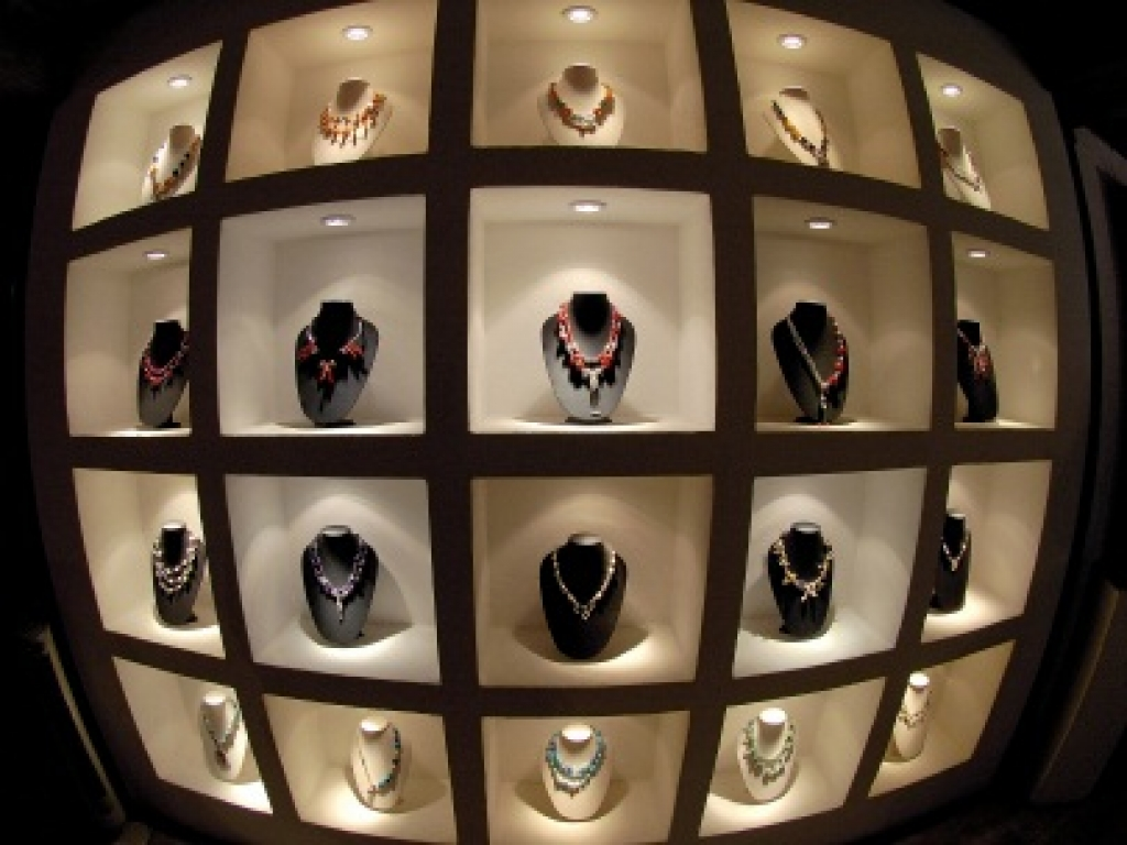 Stands with build-in lighting perfect for jewelry shows and jewelry store display.