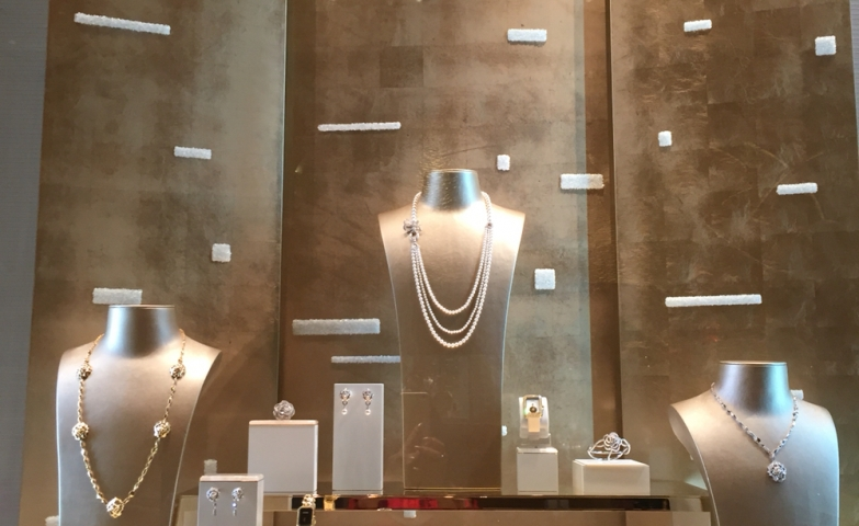 A setting like no other to show of a Chanel jewelry display inside the Encore Hotel Las Vegas.