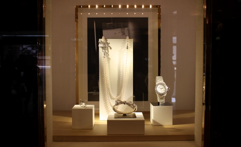 Four delicate pieces in a stunning jewelry display set, inspiration from the one and only Chanel.