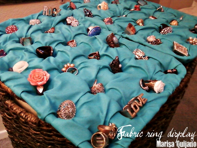 A ring display created using fabric, a nice DIY idea that goes for all types of rings. Inspiration from Marisa Quijano.