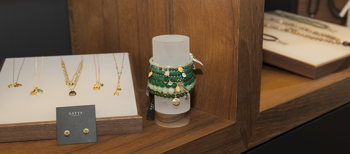 A close-up on a display stand from when Satya Jewelry launched their flagship boutique.