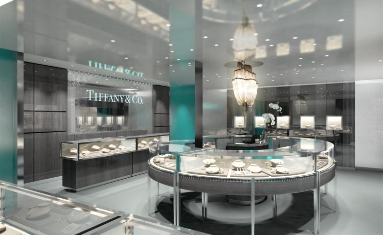Tiffany & Co jewelry display is like no other, it vibrates elegance and modern interior design.