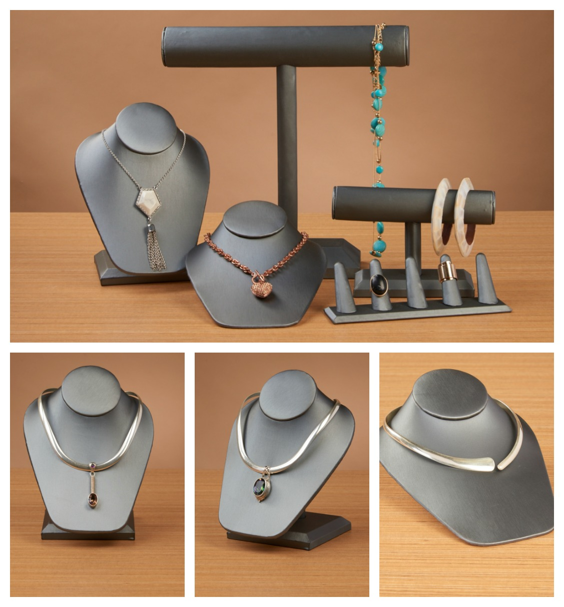 Grey jewelry displays set with holders for necklaces, racks for bracelets & necklaces, and holders for rings. A nice set for jewelry display ideas.