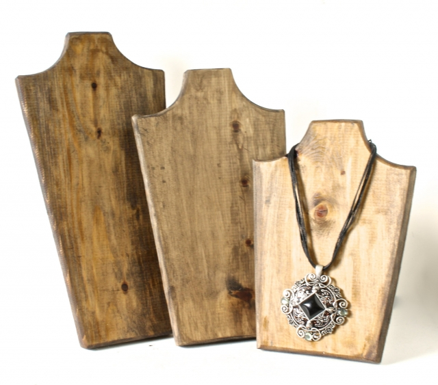 Natural wood holders set for jewelry display, especially for rope necklaces with big heavy pendants.