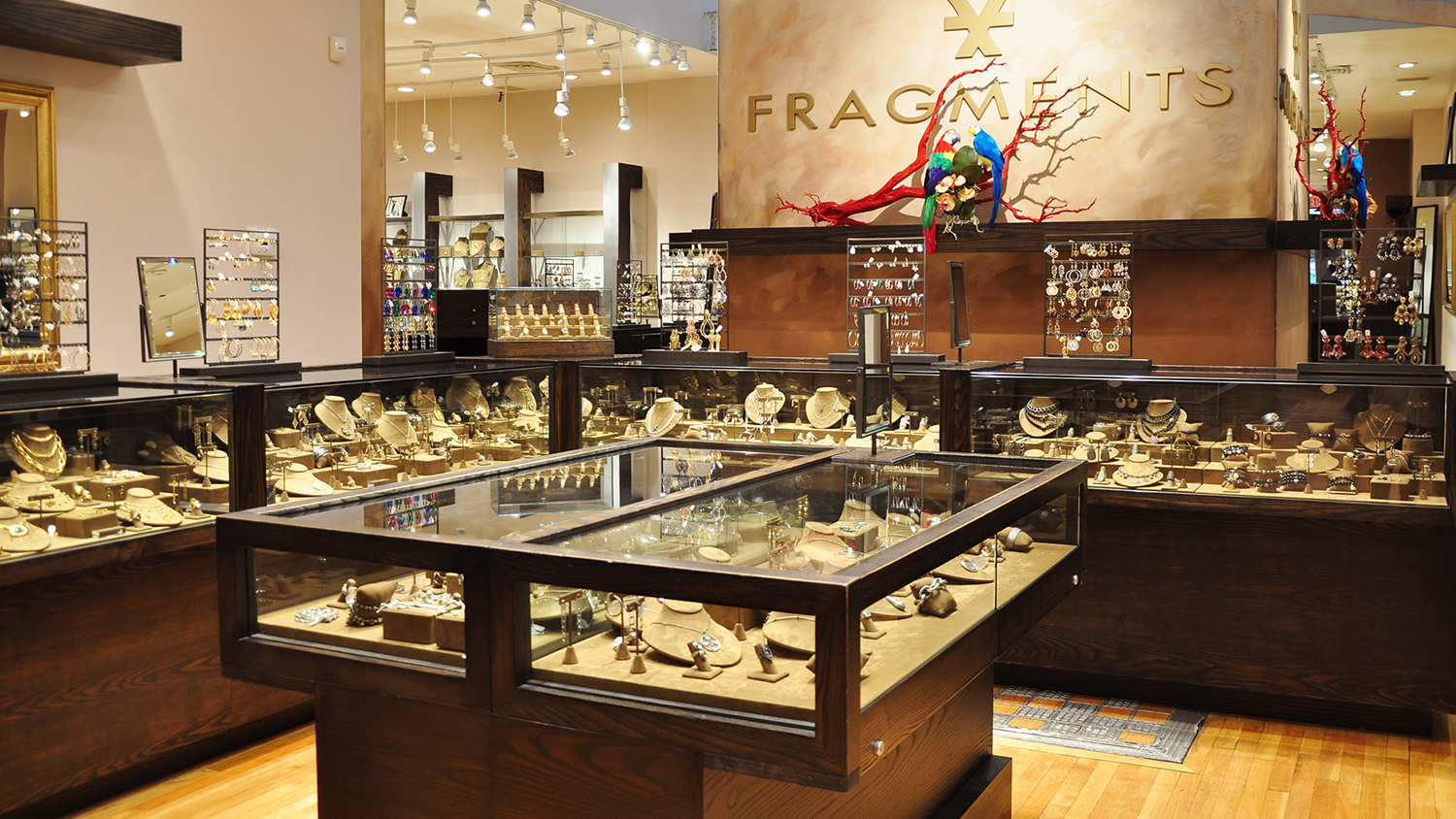 Inspiration from New York's jewelry stores, merchandise displays inside Fragments, for jewelry display ideas.