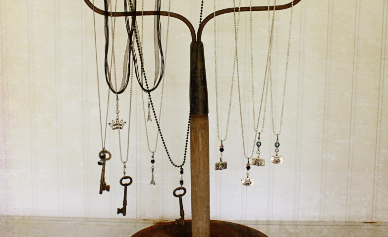 Rustic inspired hanging piece for vintage necklaces, inspiration from Kari Linder for jewelry trunk shows and jewelry display ideas.