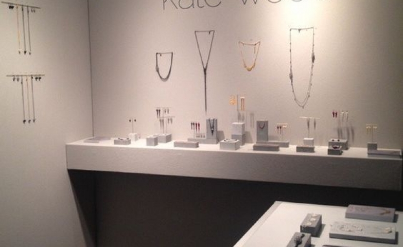 Simple display using the whole space, both the walls and the stands to display and hang the jewelry, ideas for jewelry display from Kate Wood.