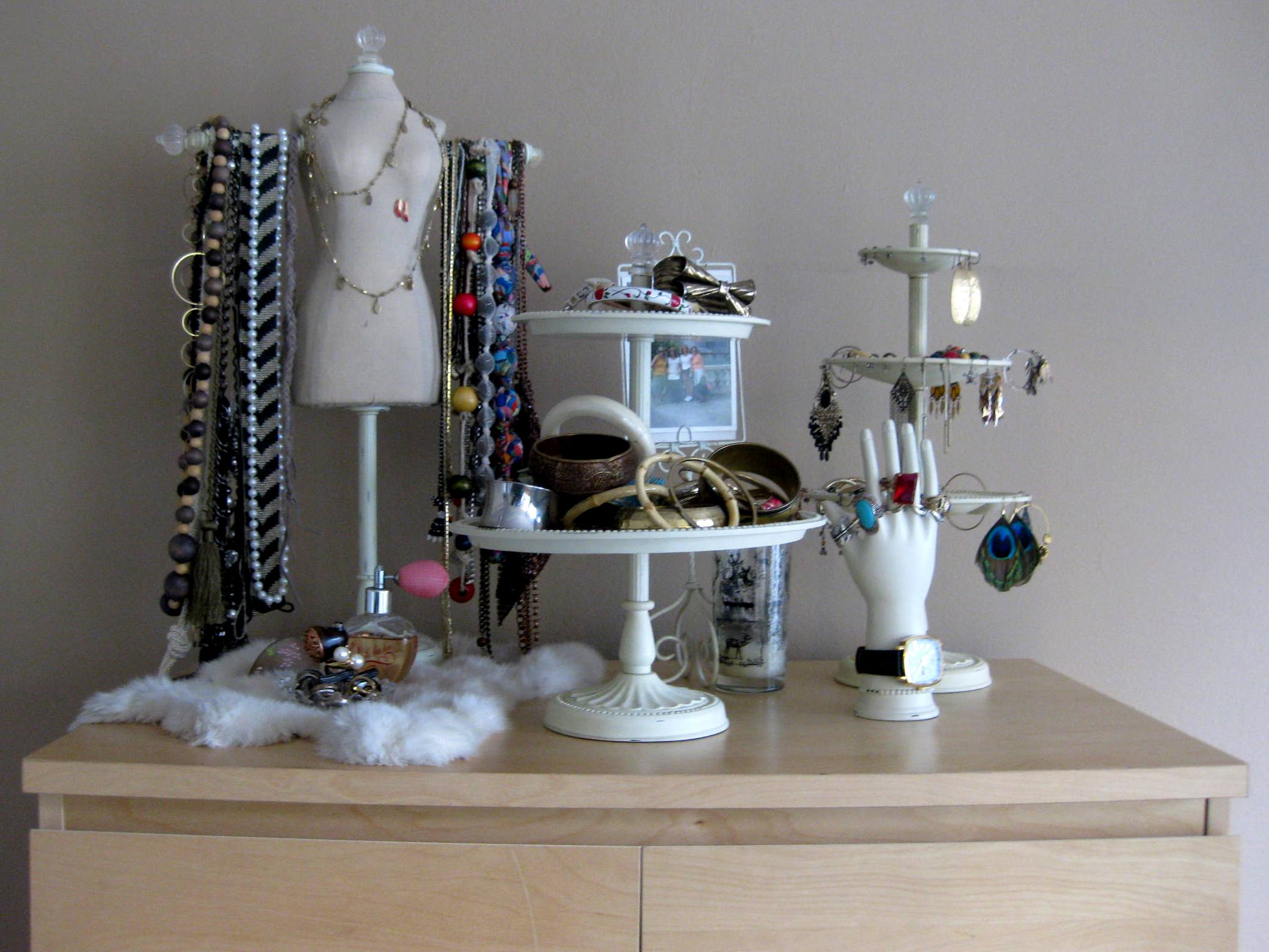 Merchandising my shelves with these original jewelry display and storage pieces.