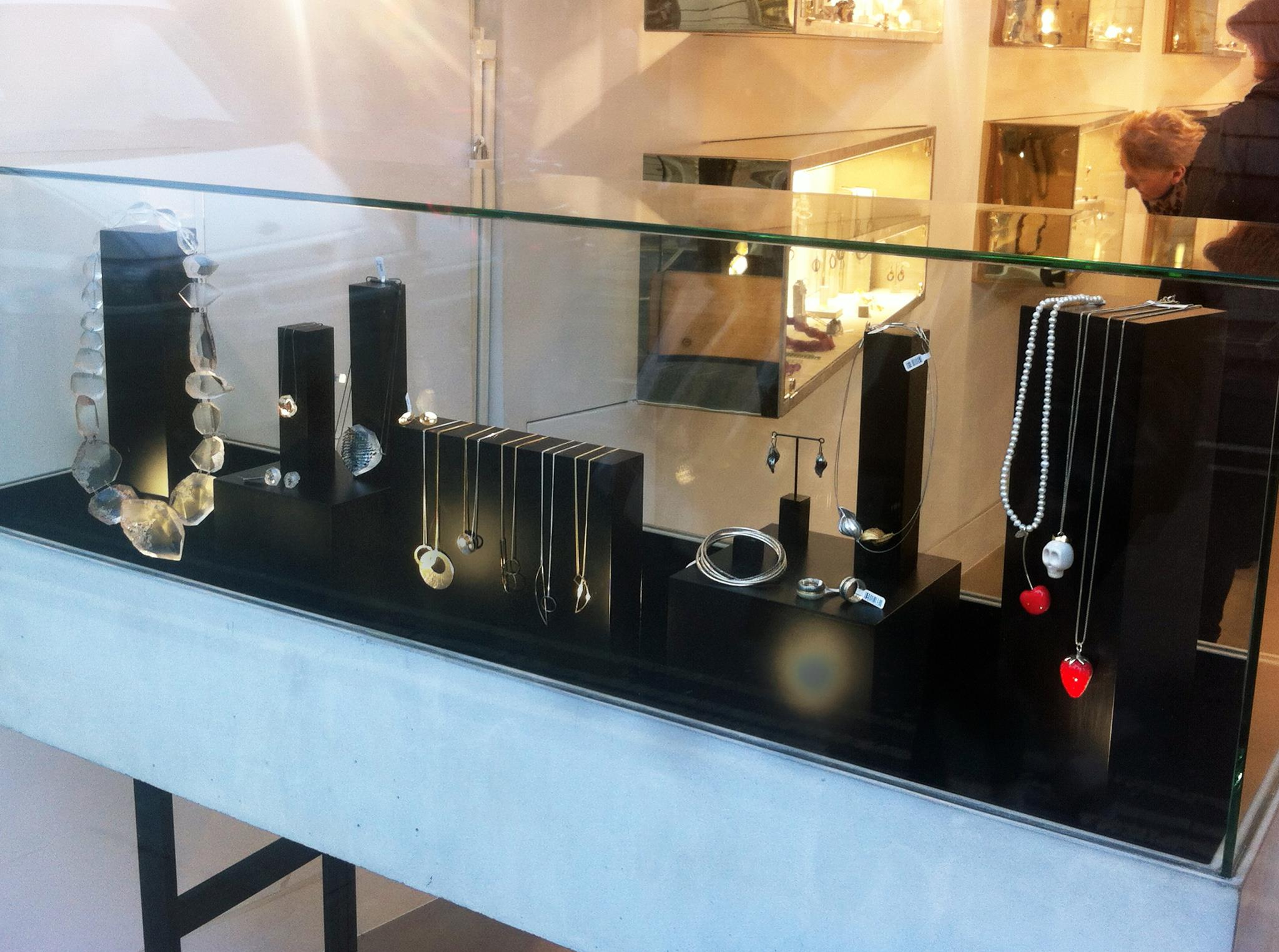 Glass display box with all black display setting, inspiration for jewelry display ideas from Sarah May Jewellery boutique.