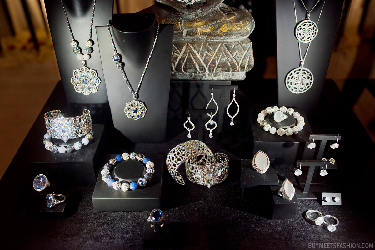 """Karma beads"" Spring/Summer collection by Thomas Sabo. Creative jewelry display ideas for beautiful sets with silver blue and white stone jewelry pieces."