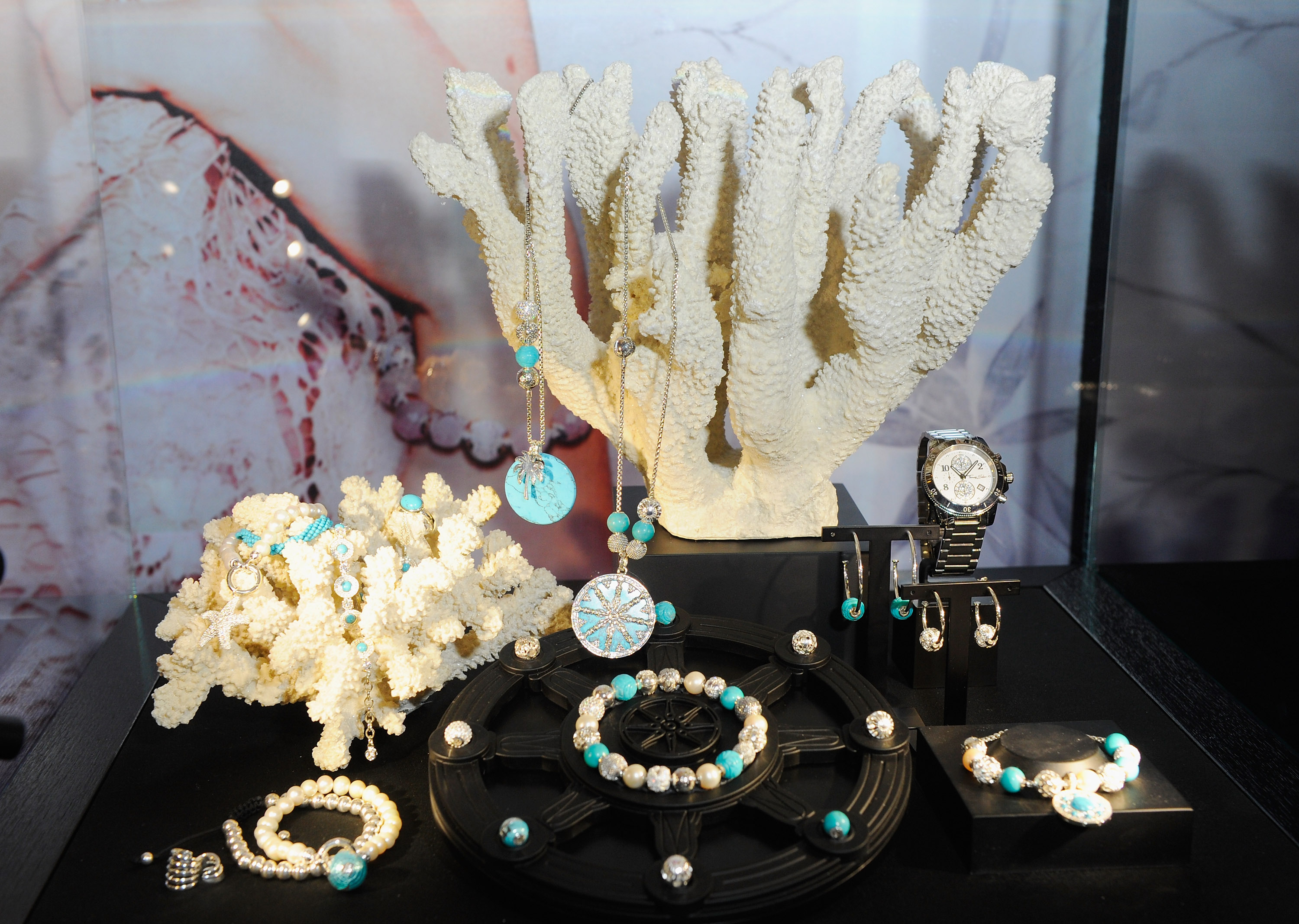 "Coral inspired setting for jewelry display ideas, by Thomas Sabo for more jewelry pieces from the collection ""Karma Beads""."