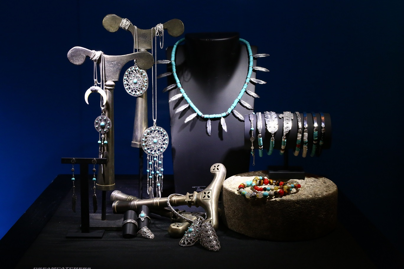 Dream catchers, feathers and colored bracelets - New collection from Thomas Sabo - and great inspiration for jewelry display design ideas.