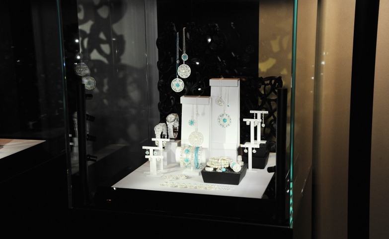 Glass display with incredible jewelry pieces by Thomas Sabo, seen during the press event at the Shard in London.