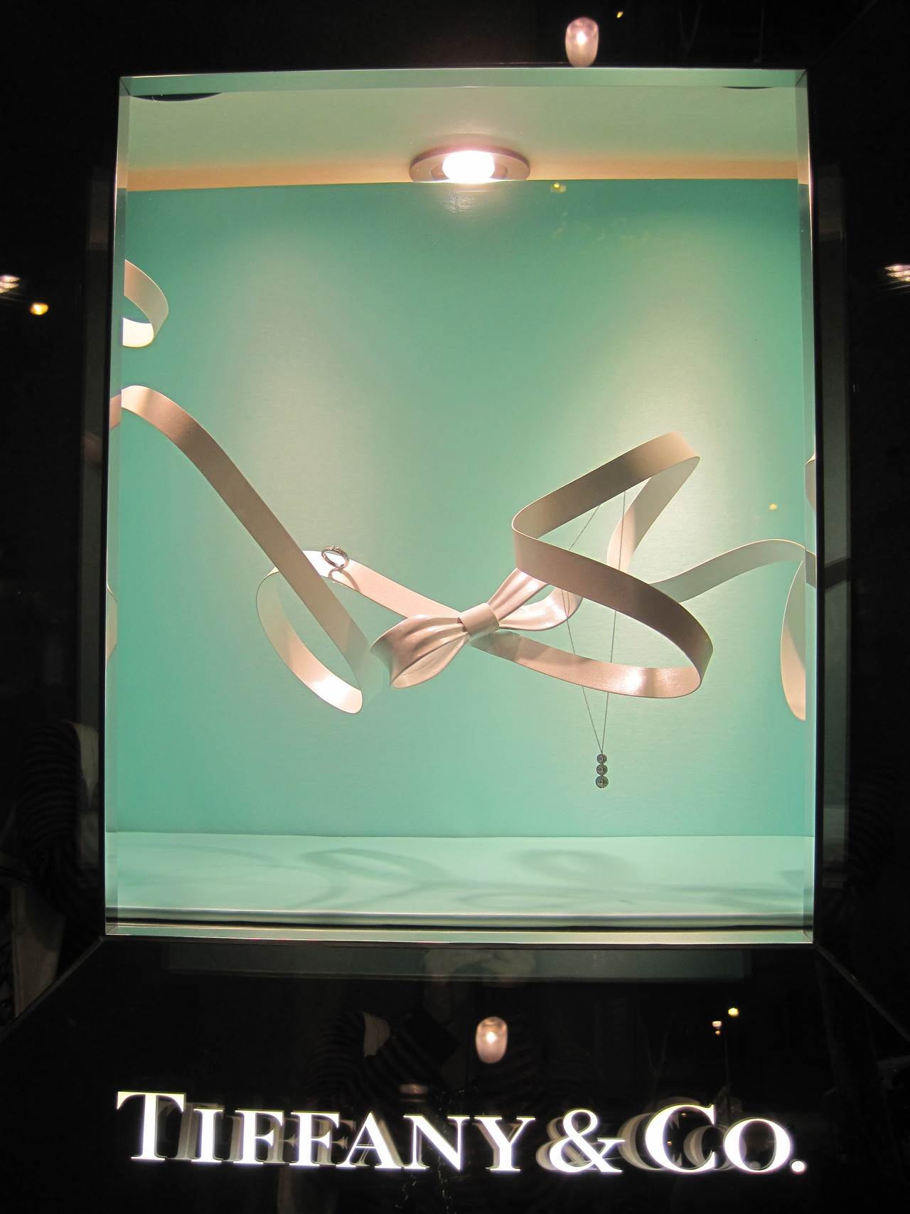 Tiffany & Co jewelry display window and visual merchandising setting seen in Barcelona.