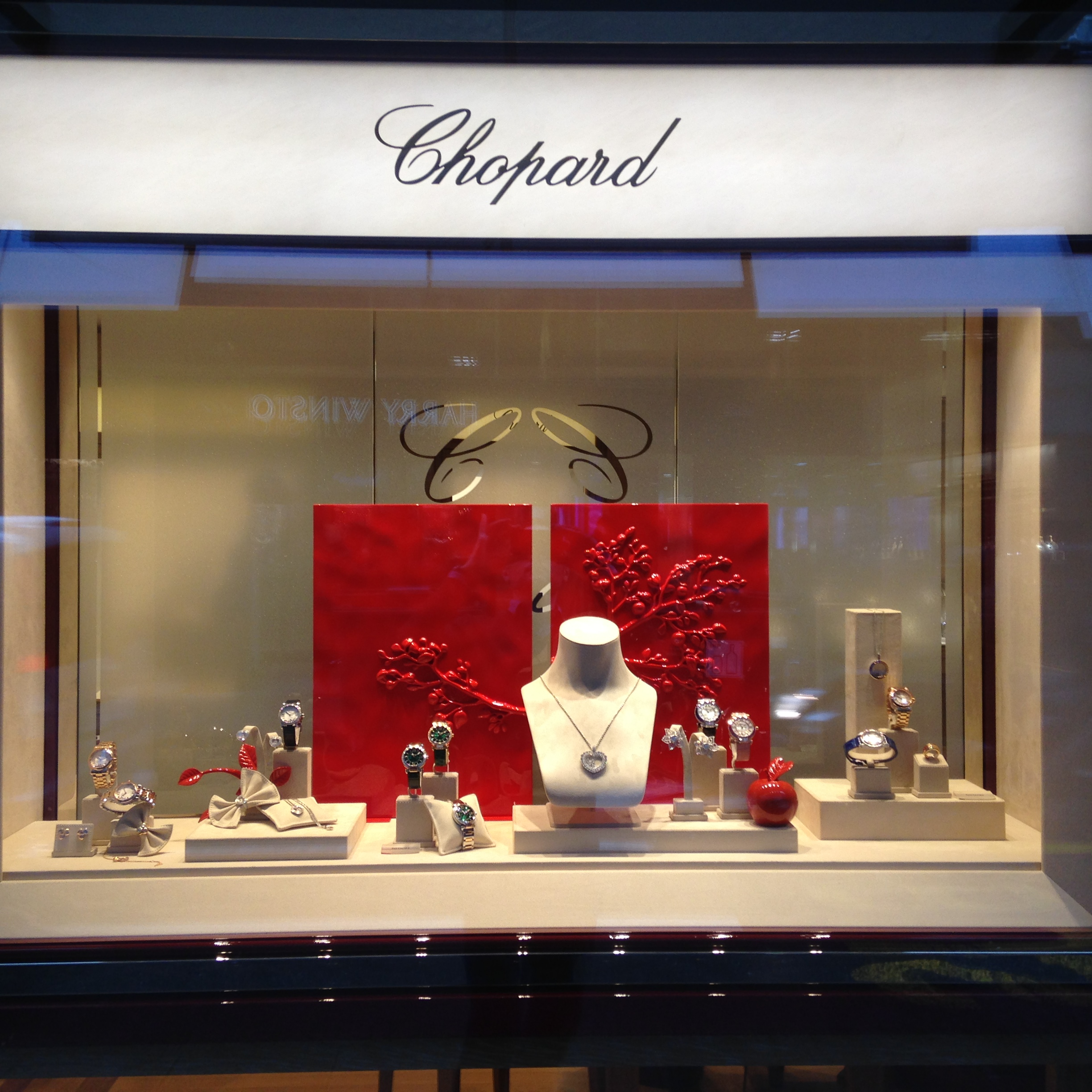 Jewelry display setting for the Valentines Day window of the Chopard jewelry store in Geneva.