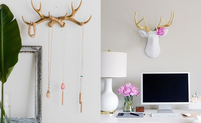 White deer head decor with gold antlers, can serve as decoration and also as a jewelry organizer and hanger, for unique jewelry display ideas.