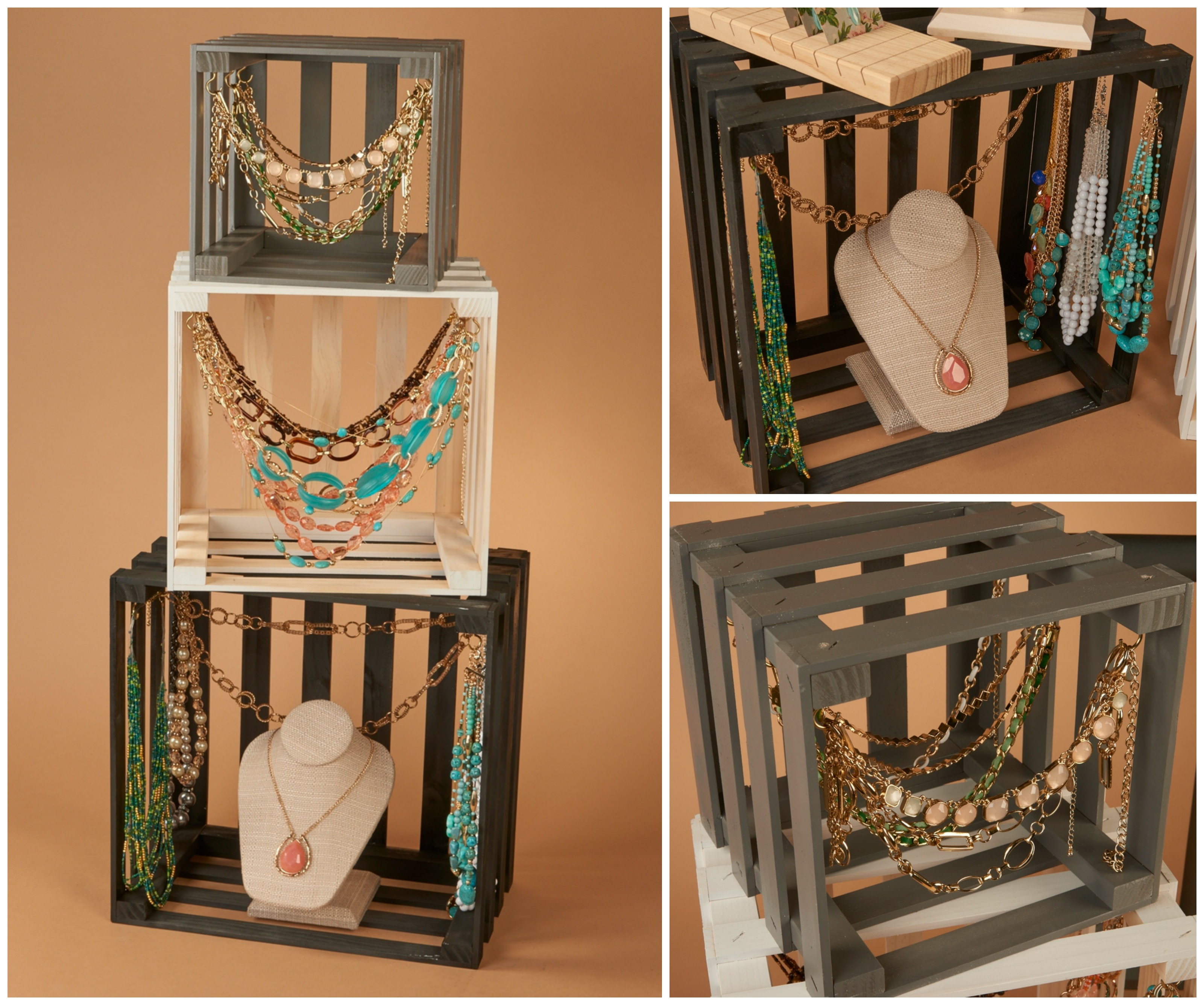 Wooden crates in different sized and colors are great jewelry display ideas, you can attach some hooks to them and use these to hang necklaces, or place necklace and other holders inside of them.