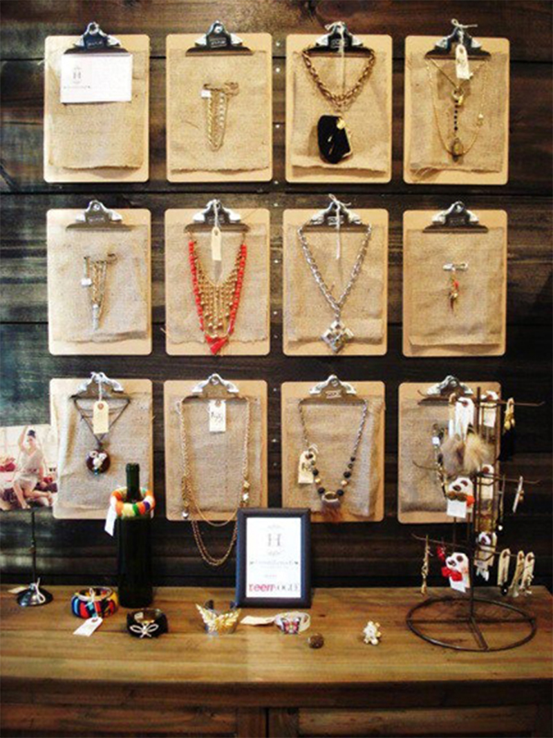 Ideas for store jewelry display using wood clip boards to hang and display necklaces and other jewelry.