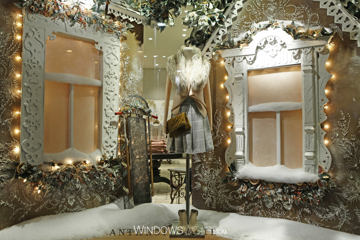 Anthropologie is known widely for their arhitectural structure given to their window displays, for example as it is in this, with snowed houses.