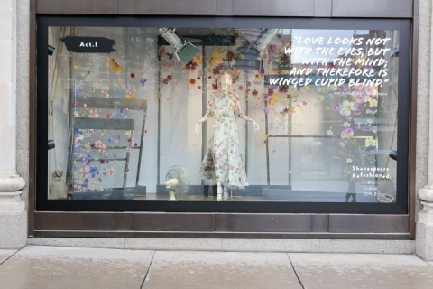 Summer window display organised in acts just like in Shakespeare,  midsummer nights dream.